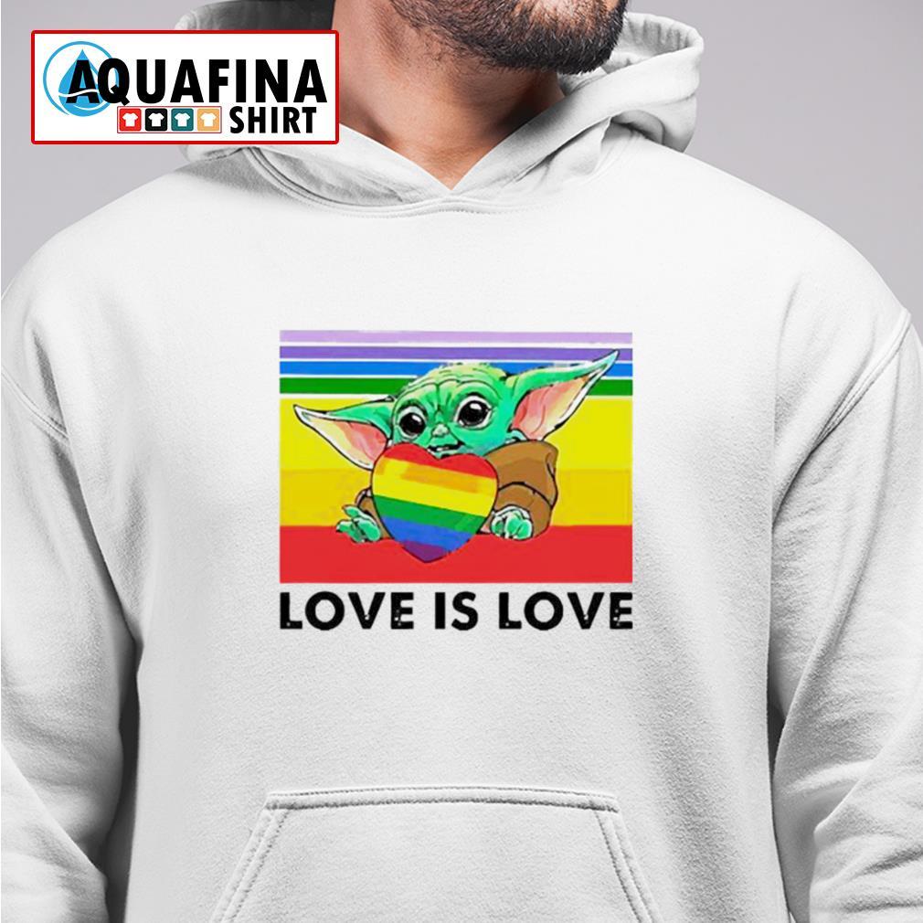 LGBT Baby Yoda hug heart love is love vintage hoodie