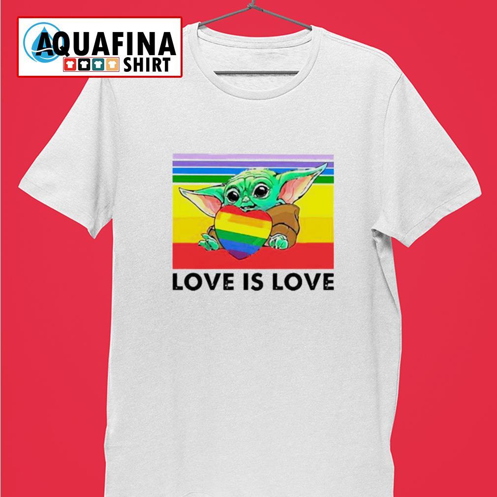 LGBT Baby Yoda hug heart love is love vintage shirt