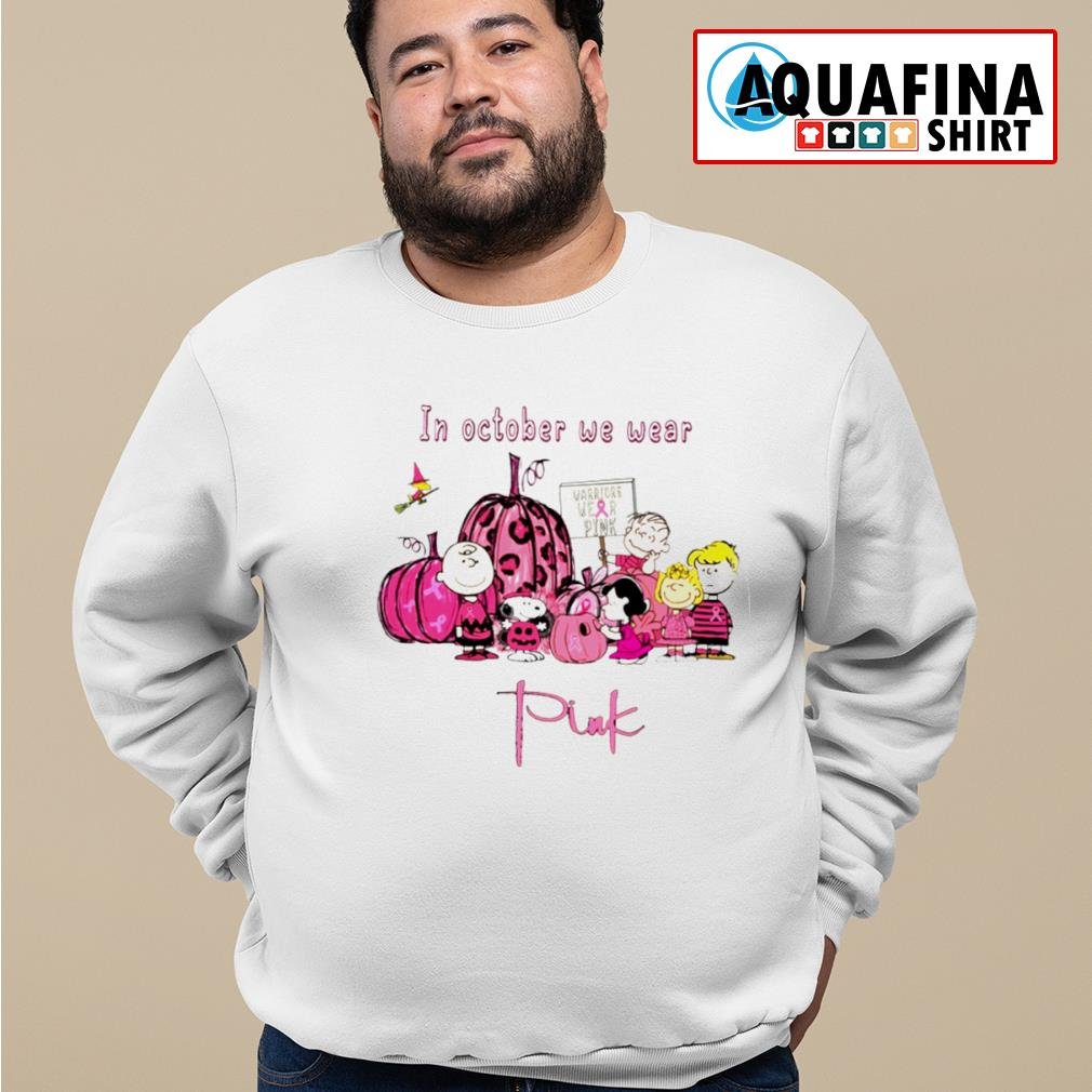 Peanut Snoopy Charlie Brown friends in October we wear pink s sweater