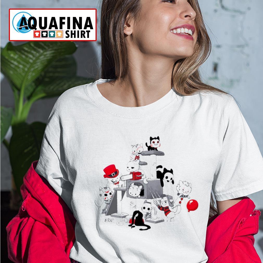 I Love Cats Horror Kitties Halloween Shirt ladies-tee